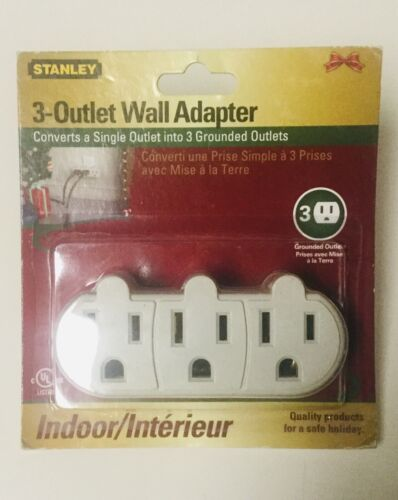 Converts a Single Outlet into 3 Grounded Outlets STANLEY 3-Outlet Wall Adapter