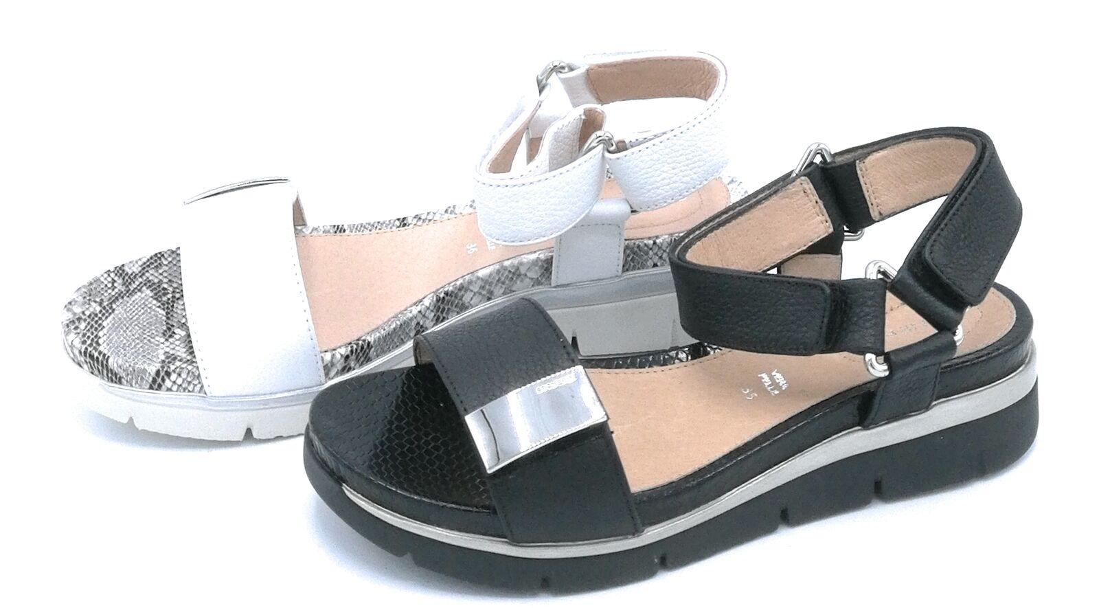Stonefly 210863 sandalo pelle bottalata black   bianco cinturino strap accessorio