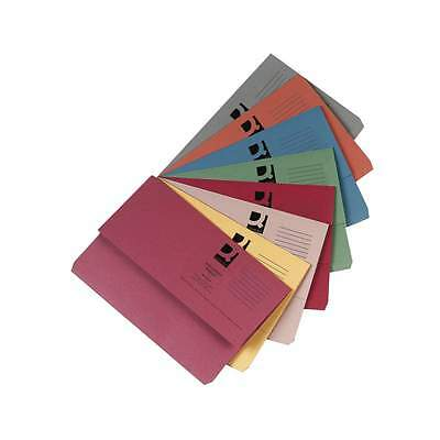 DOCUMENT WALLETS FOOLSCAP 285GSM RECYCLED ASSORTED COLOURS FILES FOLDER FITS A4