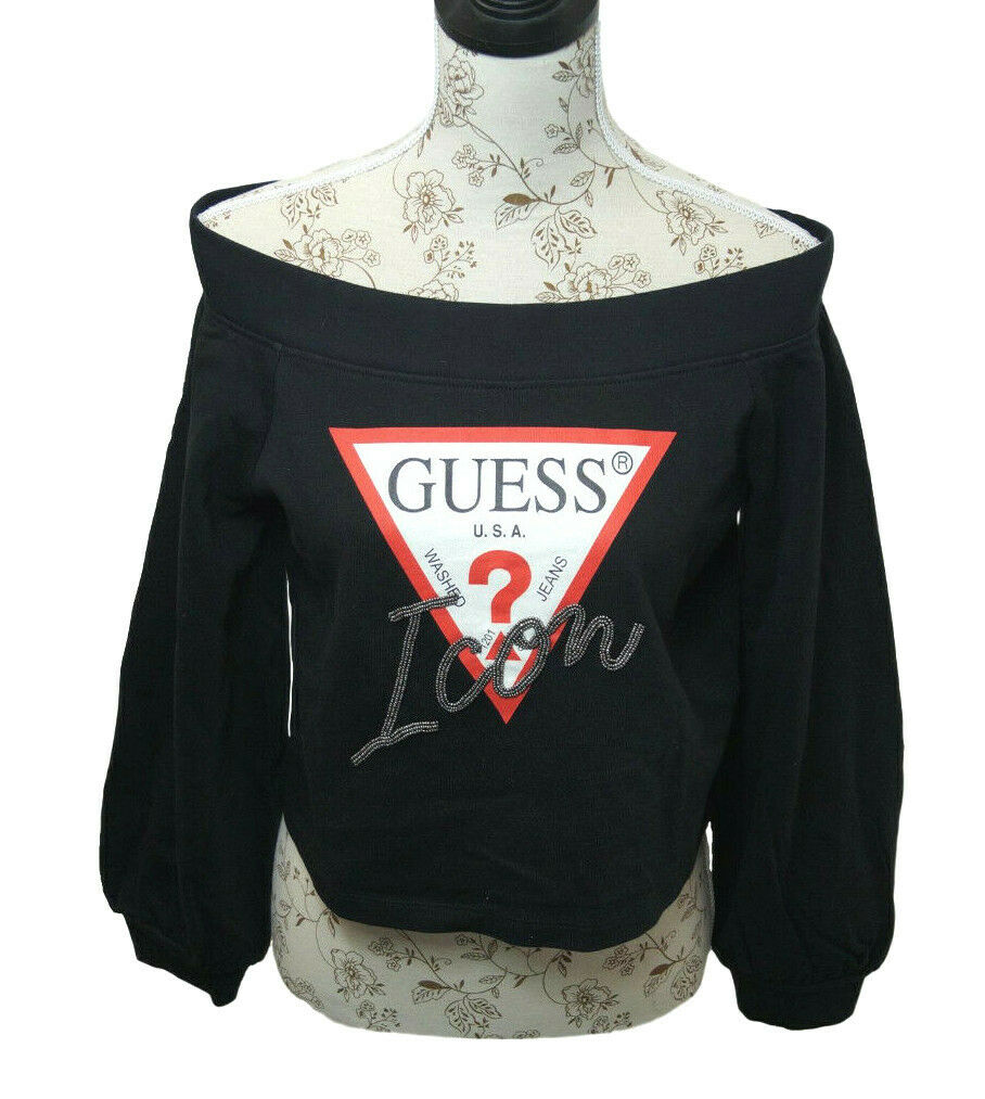 GUESS Sweatshirt Off Shoulder Damen Schulterfrei G002