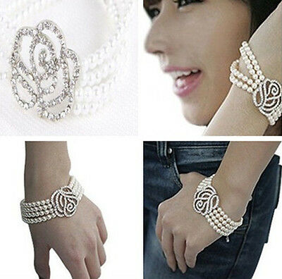 GRAU Elegant Women 4 Layer Rose Flower Crystal Pearl Cuff Style Bangle Bracelet
