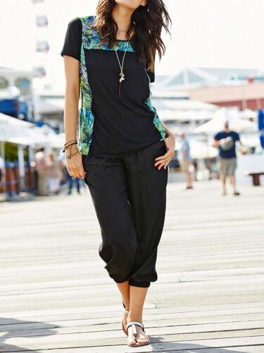 3//4 Longue Pantalon sommerhose Jogger haushose Noir Taille 48 54 56 60 nouveau