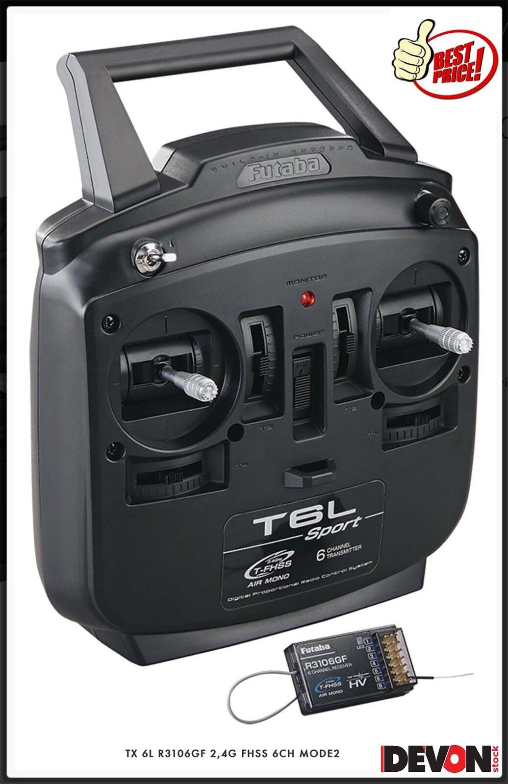 Radiocomando Futaba TX 6L R3106FG 2,4GHZ 6CH MODE 2 Elicotteri Elettrici radio