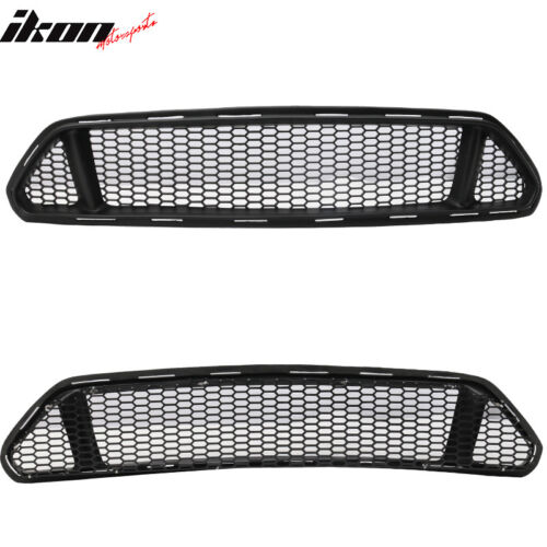 Fits 15-17 Mustang Ikon Style Front Upper /& Lower Mesh Grille Grill Black PP