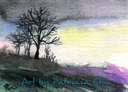 "ACEO LE Art Card Print 2.5/""x3.5/"" /"" Dawn /"" landscape Art by Patricia"
