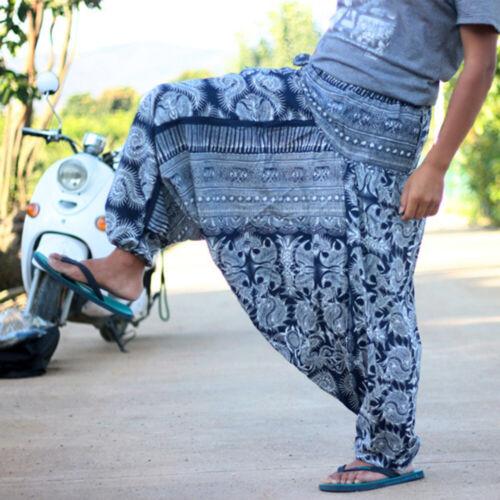 Mens Wide Leg Drop Crotch Trousers Baggy Harem Boho Pants Loose Hippie Joggers