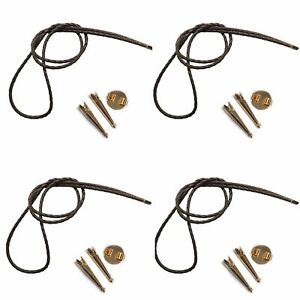 Blank Bolo String Tie Kit Round Slide Smooth Tips Silver Vinyl Braid Gold Tone