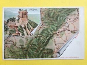 Postkarte-Litho-signe-Ottomar-WEYMANN-SAVERNE-CHATEAU-du-HAUT-BARR-Strassenkarte