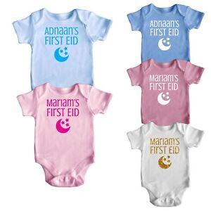 eb43faffa Personalised My First Eid Short Sleeve Baby Baby Grows Newborn 0-18 ...
