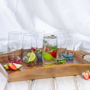 Lav-Set-of-6-Coloured-Base-Highball-Clear-Water-Juice-Cocktail-Glasses-390ml