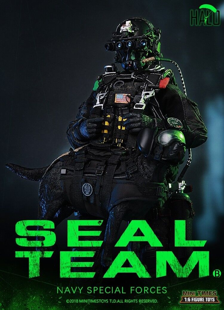 Mini Times Toys Mt-M013 Us Marine Spezialeinheiten Seal Team Halo 1 6 mit   Hund