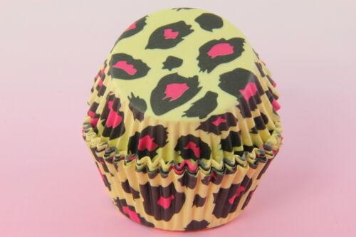Leopard Yellow Black Animal Print 100ct 2/'/' Standard Cupcake Liners Baking Cups