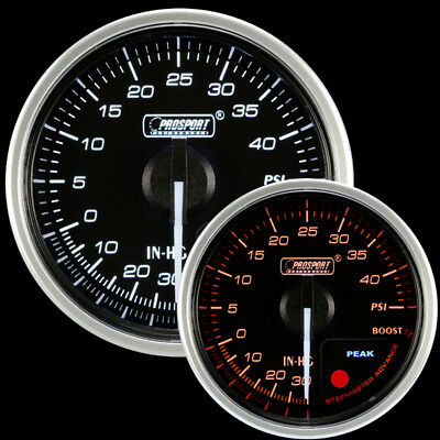Boost Gauge-60mm Electrical Amber//white Premium Series with Peak Recall and Warning 60mm 2 3//8