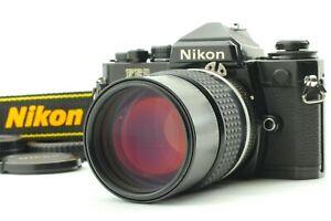 EXC +5 Nikon fe2 schwarz Film Kamera mit Nikkor AI-S 135mm f/2.8 MF Lens aus Japan