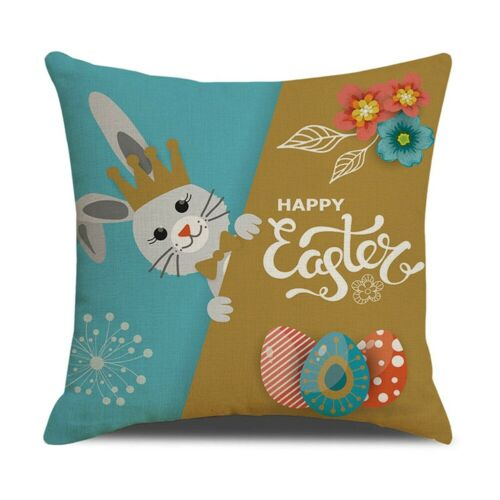 Spring Easter Pillow Covers Cases Decorative Cushion Sofa Couch Rabbit Bunny 18/""