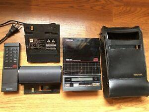 Funktioniert-vintage-achtziger-Jahre-Toshiba-xr-p9-CD-Player-Case-Netzteil-Remote