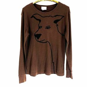 Marushka-Handprints-Dog-Wagging-Tail-Brown-Thermal-T-Shirt-SZ-XL