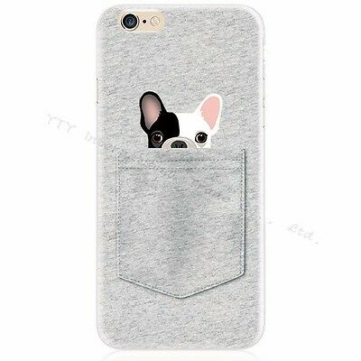 Cute French Bulldog Dog Pup Hide in Pocket Soft Case for iPhone 5 5S SE 6 6S