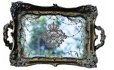 Antique Gold Resin Mirrored Tray Perfume Storage Holder decorative dresser