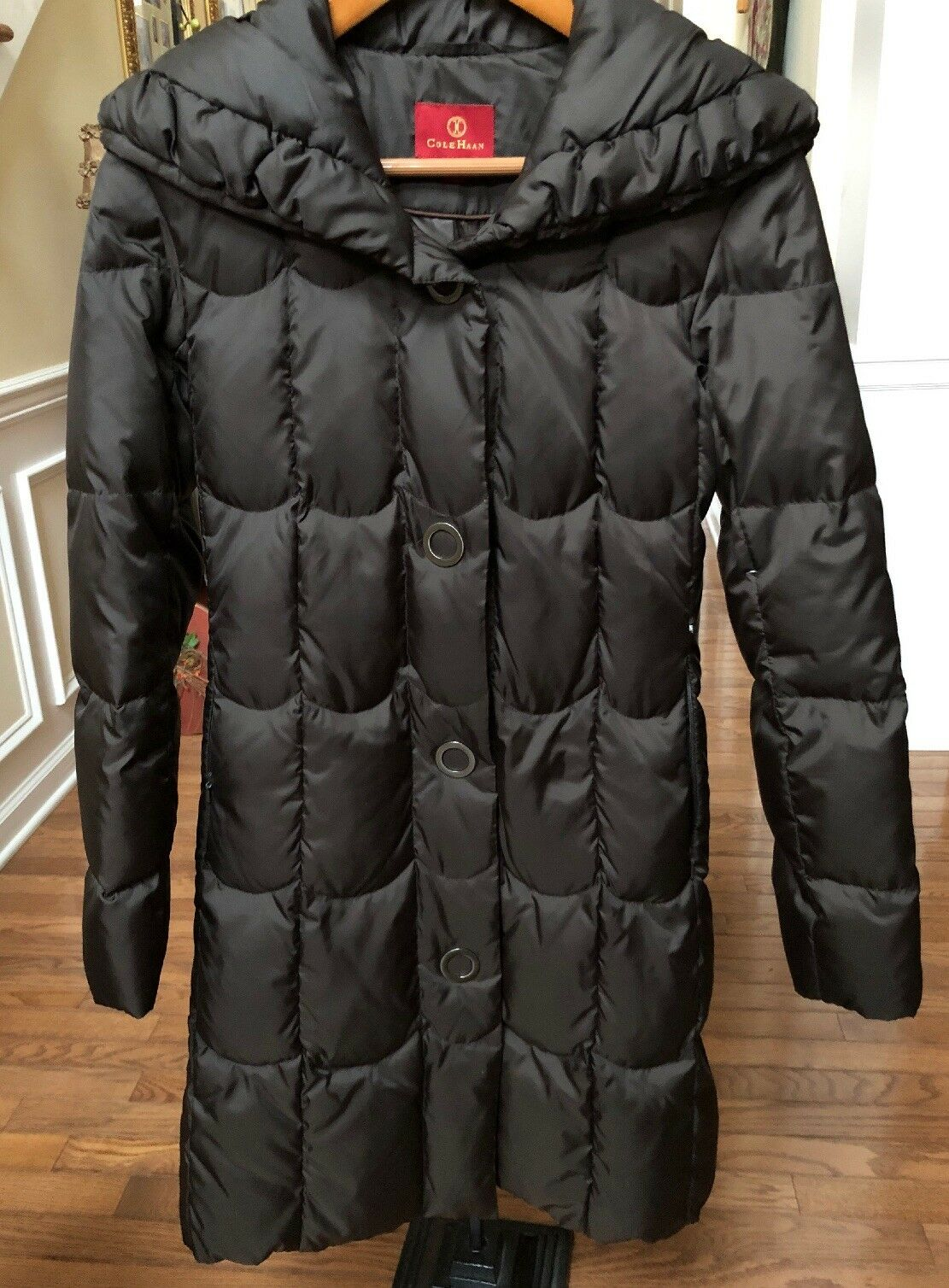 WOMEN'S COLE HAAN DOWN DOWN DOWN FILLED WINTER COAT KNEE LENGTH. Preowned SIZE XS 434955