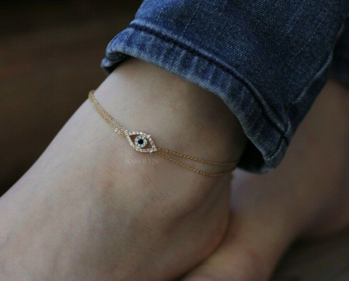 Baby Blue Evil Eye made with Swarovski Crystal Amulet Nazar Religious Anklet NEW
