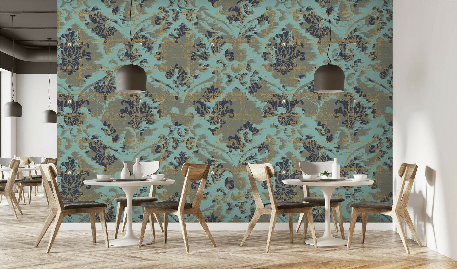 3D  Floral Retro Paint 3 Texture Tiles Marble Wall Paper Decal Wallpaper Mural
