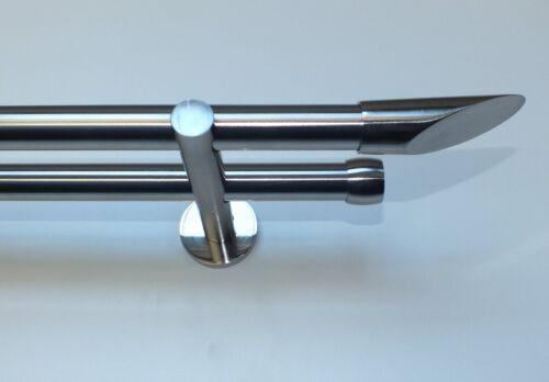 """Doppelrohr Gardinenstange 2 x Rohr 20 mm Edelstahl Optik mit Endstücken /"""" Cut /"""""""