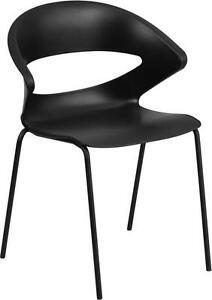BLACK CAFÉ RESTAURANT INDOOR OUTDOOR STACK CHAIR WITH CURVED BACK