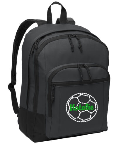 Personalized School Custom Book Bag with Soccer Embroidered Design for Sports