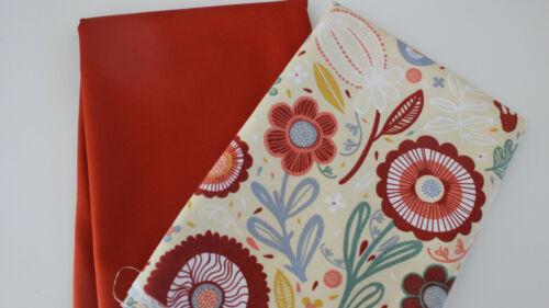 uni Canvas orange 2 x 50 x 140 cm Taschenstoff Canvas  Retro Blume Stoffpaket