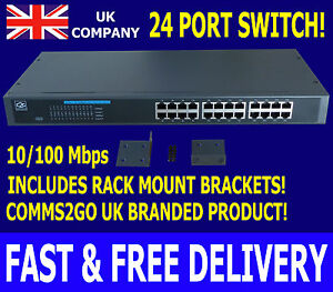 "10/100Mbps 24 Way/Port Switch 19"" Comms Rack Mount Network Ethernet LAN Cabinet! 5055606400018"