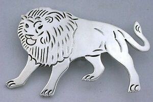 .925 Solid Pure .925 Sterling Silver Lion Pin Brooche Brooch ebs5140