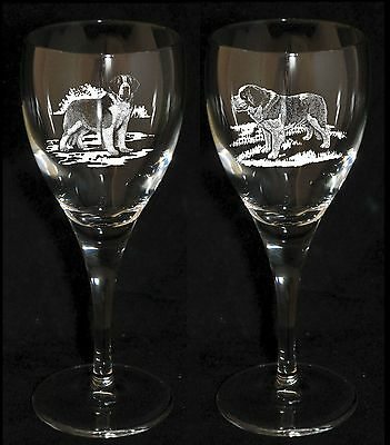 SAINT BERNARD GIFT - Boxed PAIR WINE GLASS *DOG GIFT*