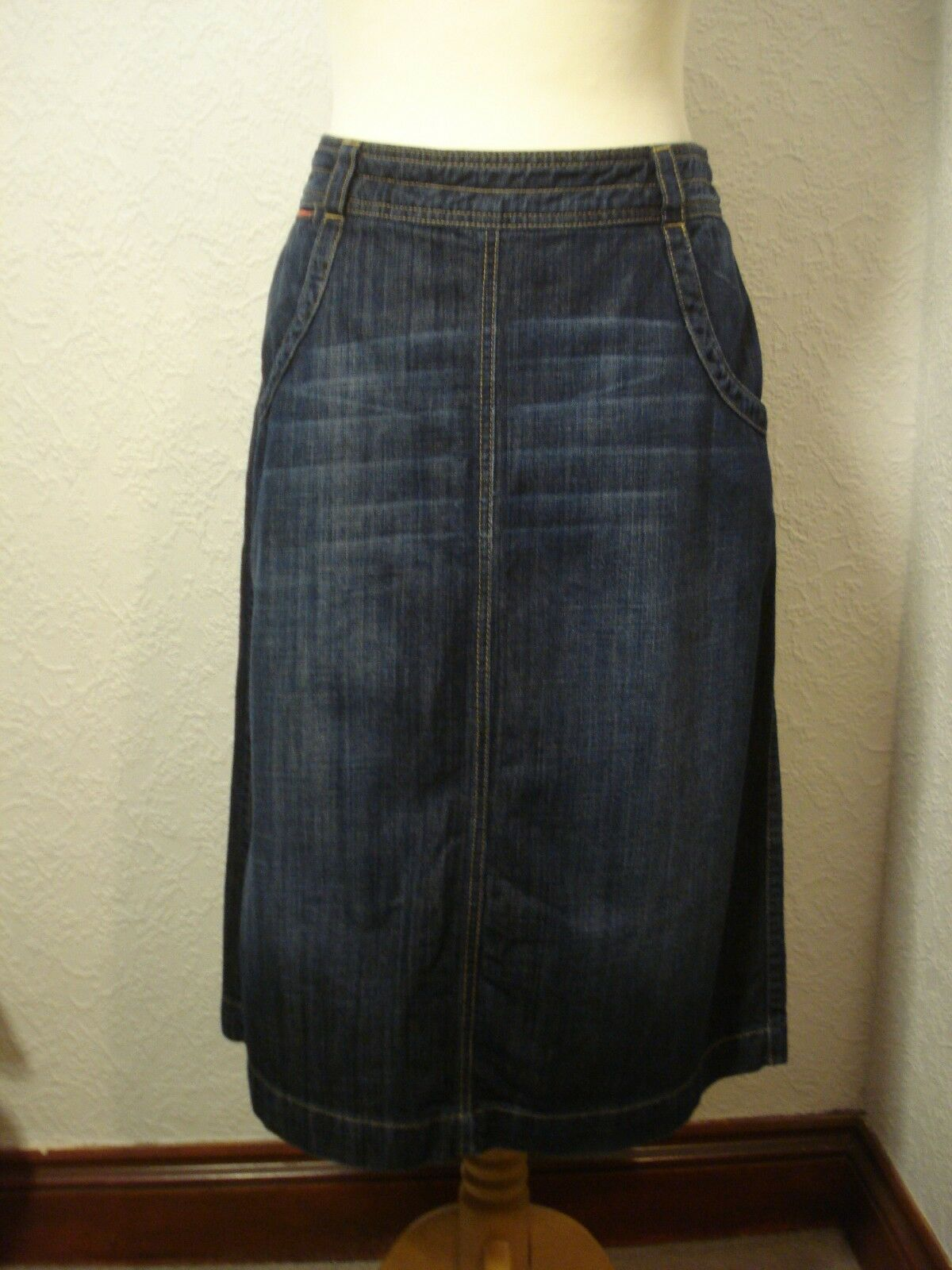 White Stuff dark bluee below knee denim skirt 10-12