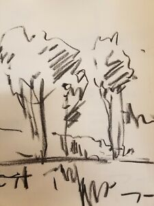 "JOSE TRUJILLO - Original Charcoal Paper Sketch Drawing 12"" - Modern Landscapes"
