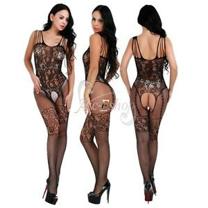 f78fc69941b Image is loading Sexy-Womens-Lingerie-Fishnet-Open-Crotch-Jumpsuit-Bodysuit-