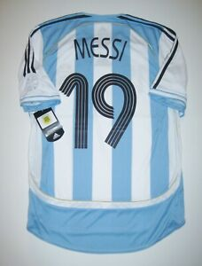 cheap for discount b11f1 5e84a Details about New 2006-2008 World Cup Adidas Argentina Lionel Messi #19 Kit  Shirt Jersey Home