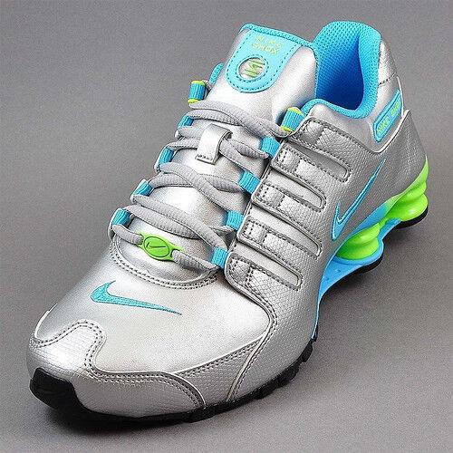 Womens Nike Shox NZ Sneakers New, Silver / Blue / Lime SKU AA