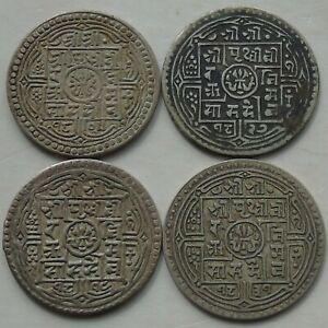 4 x Nepal Silver Mohar of Prithvi Bir Bikram KM#651 C1881-1911 Nice Grades, a)