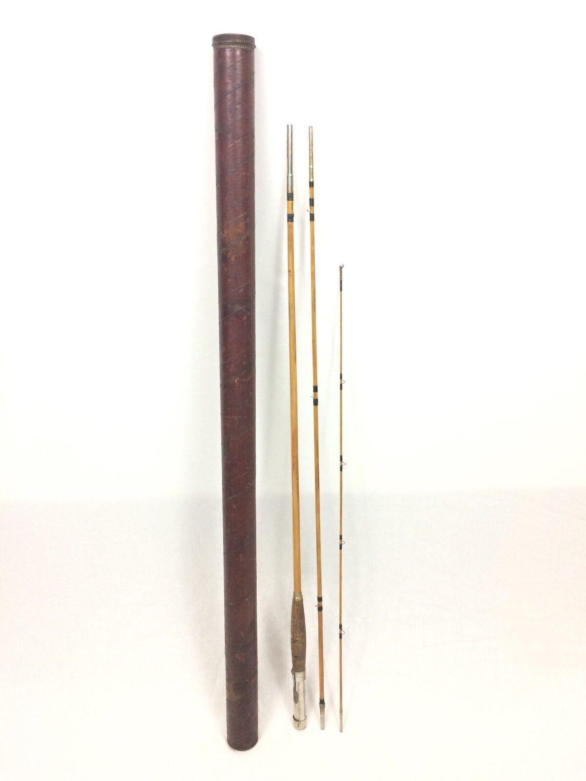 Vintage Split Cane Fly Rod Fishing Pole Varnished Cardboard Tube Antique Cabin