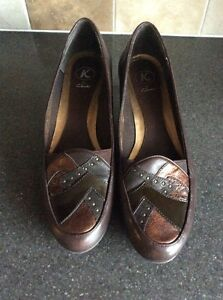 K-By-Clarks-Stylish-Brown-Leather-Wedge-Shoes-Size-5-5-Very-Good-Used-Condition