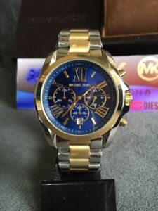 3c39b63e7e2e NEW MICHAEL KORS MK5976 LADIES BRADSHAW TWO-TONE 43MM CASE STAINLESS ...