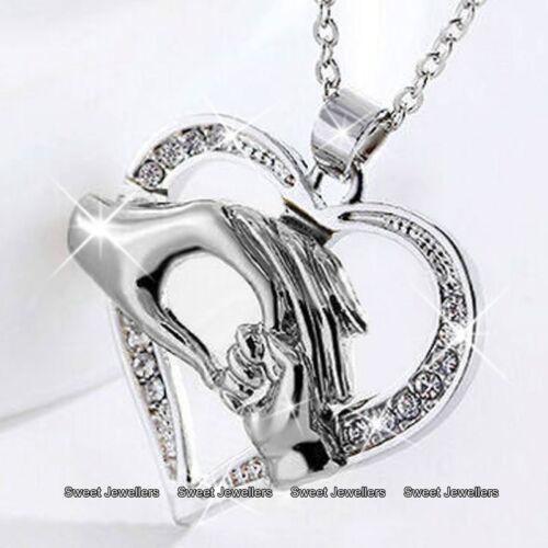 Mutter /& Tochter Silber Herz Halskette Kristall Diamant Weihnachten Geschenke