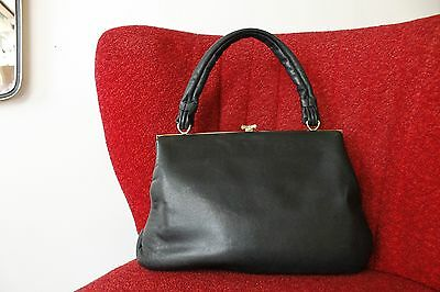 Damen Tasche Handtasche handbag bag schwarz 60er True VINTAGE 60s Rockabilly