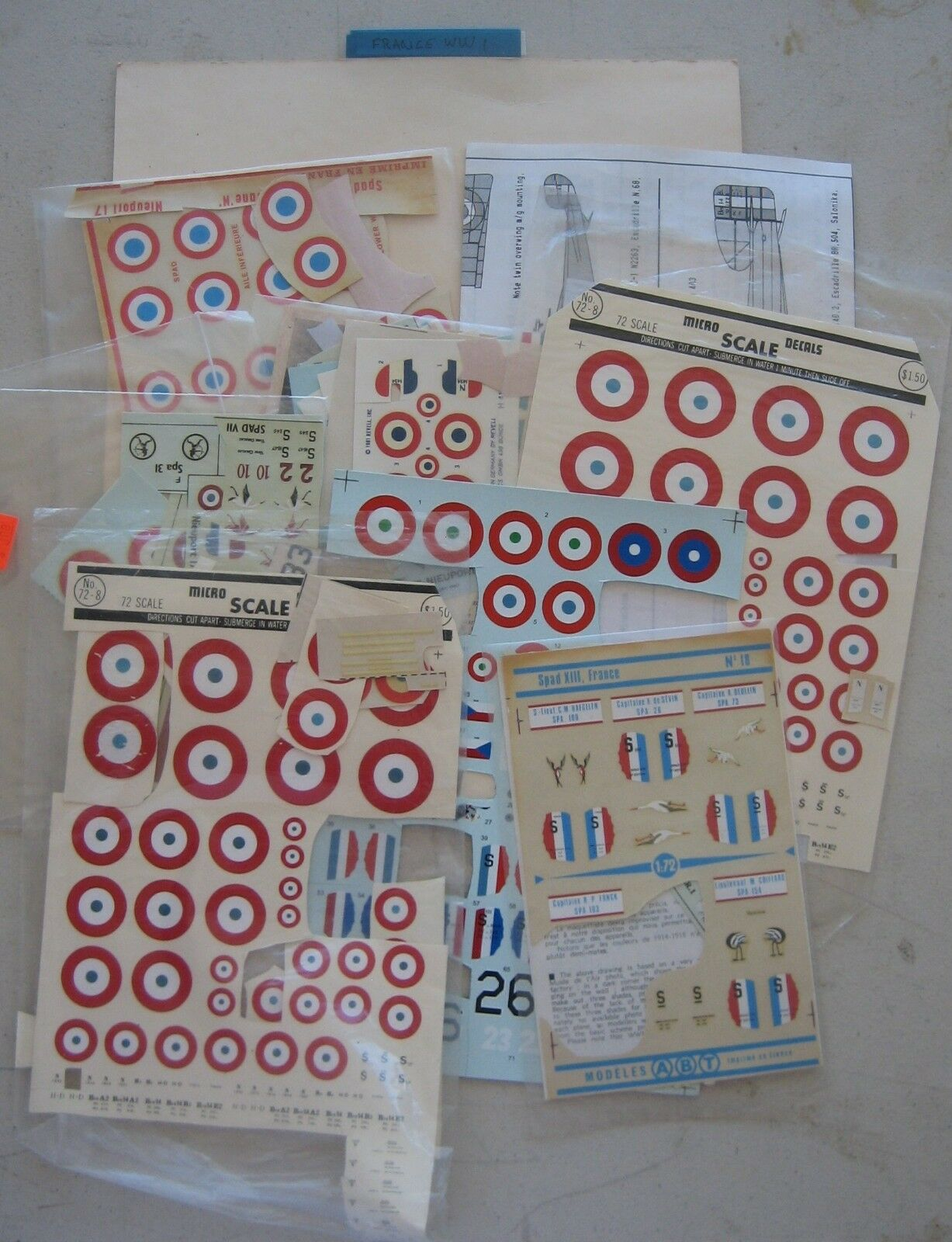 Huge Lot of Hobby Model Military Decals WWI WWII Post War France