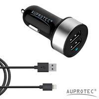 Auprotec® 2ér Set USB Auto Kfz Ladegerät Zigarettenanzünder Adapter + Ladekabel