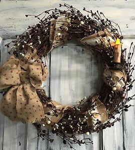 18 Inch Primitive Country Grapevine Wreath W/button Burlap & Pip Berries W/stars