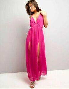 Hot-Pink-Maxi-Chiffon-Dress-Split-Front-Long-Sarong-Kaftan-Beach-Double-Strap