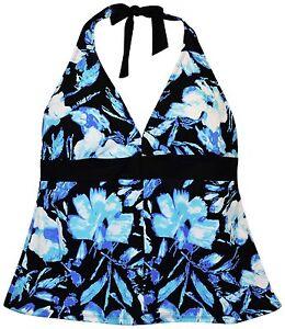 New-Heat-Womens-Plus-Size-Tankini-Swimsuit-Top-18-20-22-24-W-Halter-Blue-floral