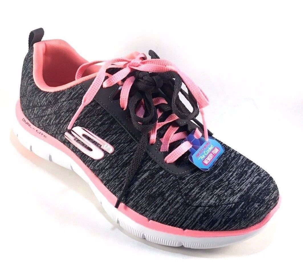 Skechers 12753 Black Coral    Memory Foam Dual-Lite Lace Up Sneakers 8a6475